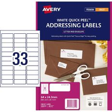 Avery Inkjet Address Labels with Quick Peel White 64 x 24.3mm 825 Labels
