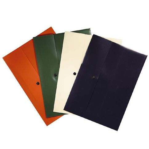 Office Supply Co Document Wallet Flap with Dome Closure 4 Pack A4