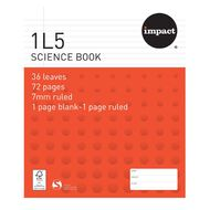 Impact Exercise Book 1L5 7mm Ruled 36 Leaf Red