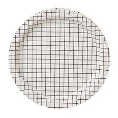 Party Inc Black & White Grid Paper Plates 18cm 8 Pack
