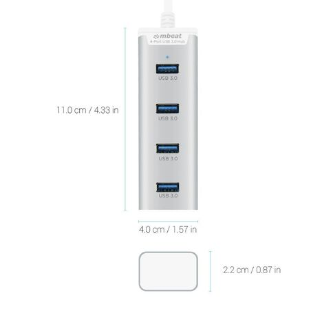 mbeat Stick 4 Port USB 3.0 Hub Silver