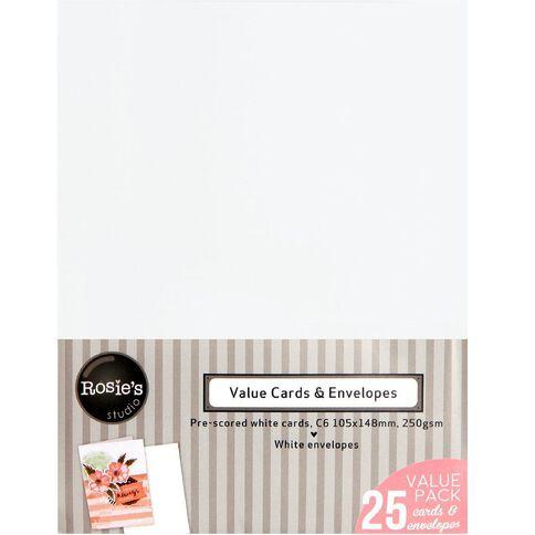 Rosie's Studio Value Cards And Envelopes C6 25 Pack White