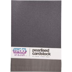 U-Do Value Cardstock Pearlised 250gsm 12 Sheets Charcoal A4