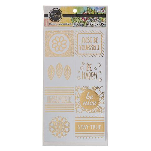 Craft Smith Colouring Stickers Square Gold White