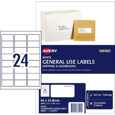 Avery General Use Labels White 2400 Labels