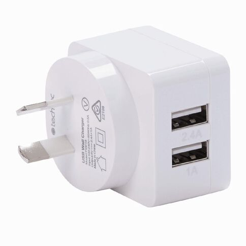 Tech.Inc Dual USB 3.4A Wall Charger 1A + 2.4A