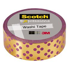 Scotch Washi Tape 15mm x 7m Foil Gold With Purple Dots