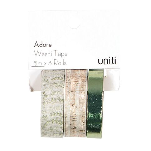 Uniti Adore Washi Tape Green 3 Pack
