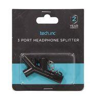 Tech.Inc 3 Port Headphone Splitter Black
