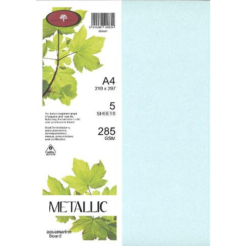 Direct Paper Metallic Board 285gsm 5 Pack Aquamarine A4