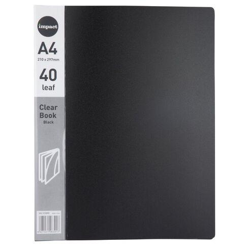 Impact Clear Book 40 Leaf Black A4