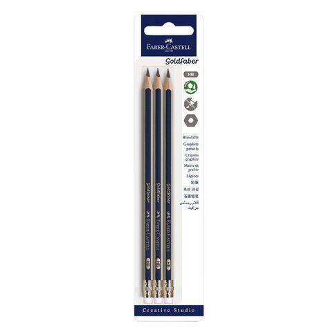 Faber-Castell Goldfaber HB Eraser Tip Pencils White 3 Pack