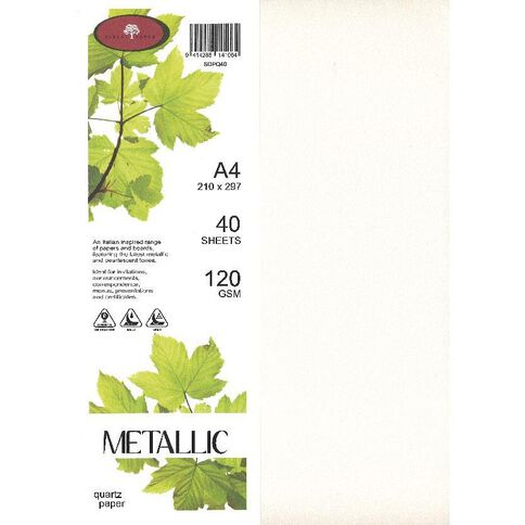 Direct Paper Metallic Paper 120gsm 40 Pack Quartz A4
