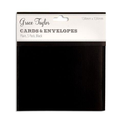 Grace Taylor Cards & Envelopes 134 x 134mm 250gsm 5 Pack Plain Charcoal