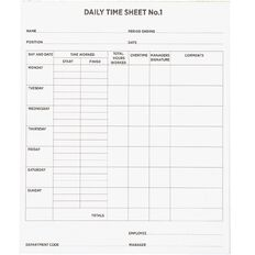 WS Time Sheets 50 Sheets 200x240mm