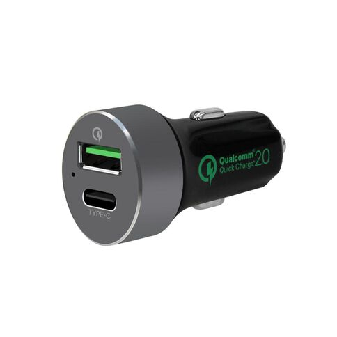mbeat Quickboost C Dual Port 2.0 And USB Type-C Car Charger Black