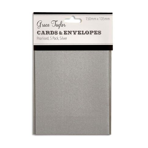 Grace Taylor Cards & Envelopes 15 x 10cm 5 Pack Pearl Silver