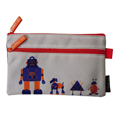 Robot Design Medium Flat Pencil Case