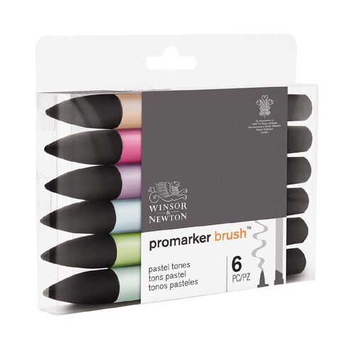 Winsor & Newton Promarker Brusher Pastel Tones 6 Pack