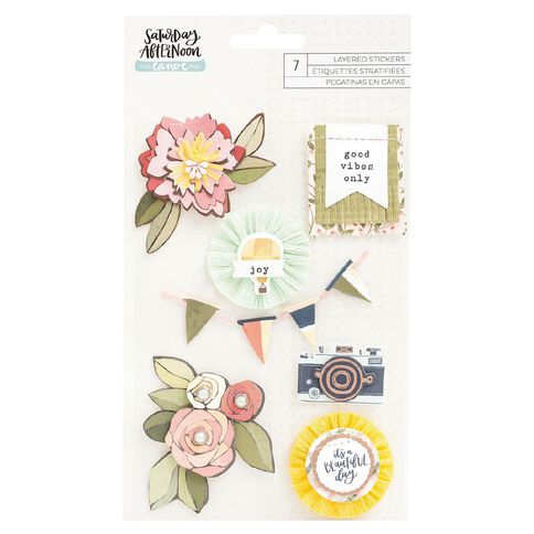 Saturday Afternoon Layered Stickers Rose Gold Foil 7 Piece