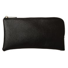 Warehouse Stationery Leather Look Pencil Case Black