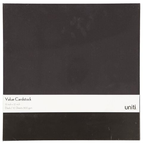 Uniti Value Cardstock 300gsm 10 Pack Black 12in x 12in