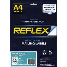 Reflex Round Glossy Labels 12/Sheet 10 Pack White