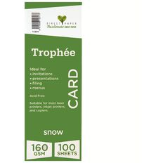 Trophee Card 160gsm 100 Pack Snow White A4