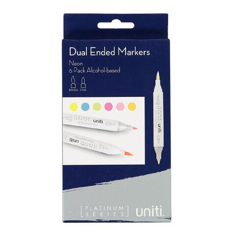Uniti Dual Ended Markers Neon 6 Pack