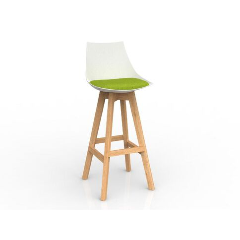 Luna White Avacado Oak Base Barstool Green