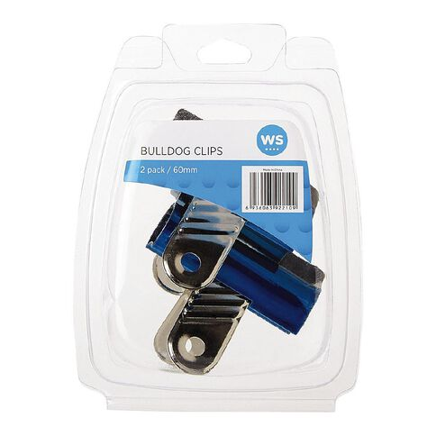 WS Bulldog Clips 60mm 2 Pack Blue