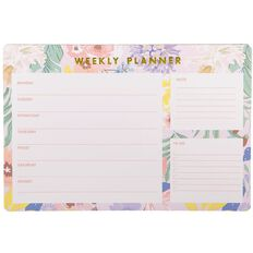 Uniti Fun & Funky Pink And Palm Weekly Planner 50 Sheets