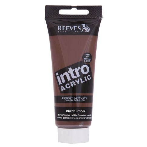 Reeves Intro Acrylic Paint 100ml Burnt Umber