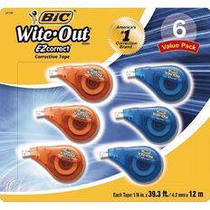 Bic Wite Out Correction Tape 6 Pack White