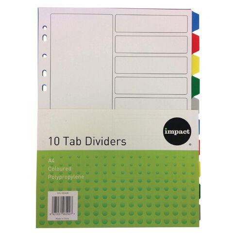 Impact PP Dividers 10 Tab Multi-Coloured