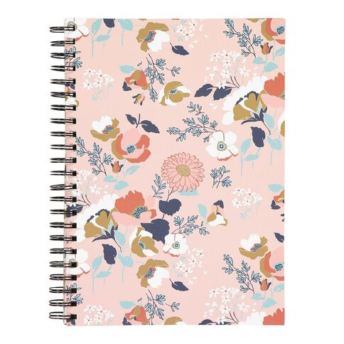 Uniti Visual Diary Spiral Floral Pink 110gsm 60 sheet A4