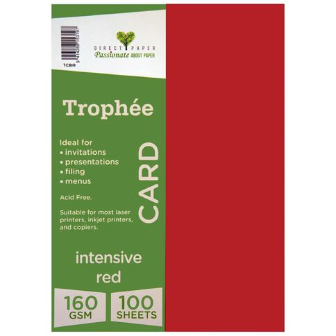 Trophee Card 160gsm 100 Pack Intensive Red A4