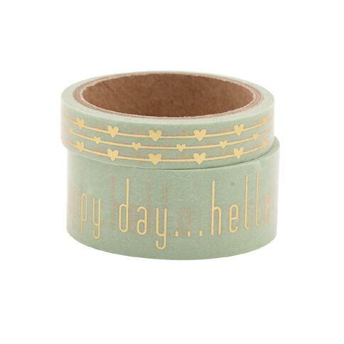 Uniti Washi Tape Mint/Gold 2 Pack