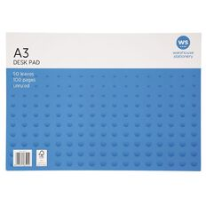 WS Desk Pad 55gsm 50 Leaf White A3