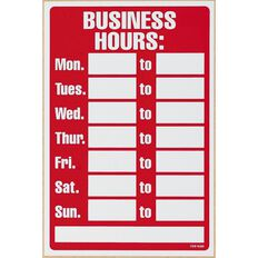 Headline Headline Business Hours Sign Red/White