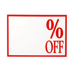 Quik Stik Labels Sign % Off 10 Pack Red/White A4