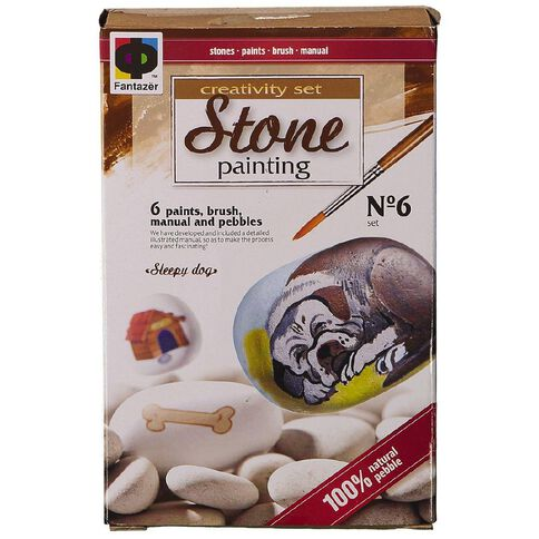 Stone Painting Sleepy Dog