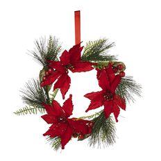 Wonderland Christmas Wreath Berry & Poinsettia 33cm