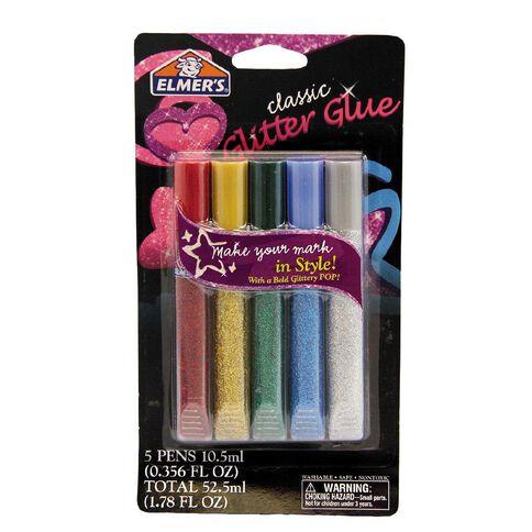 Elmer's Glitter Glue Pens Assorted Multi-Coloured 5 Pack