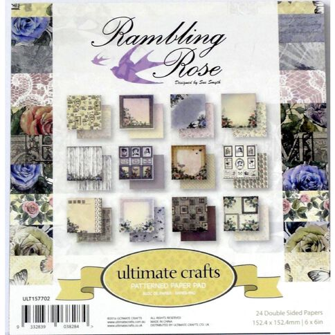 Ultimate Crafts Rambling Rose Paper Pad 6 x 6 24 Sheets