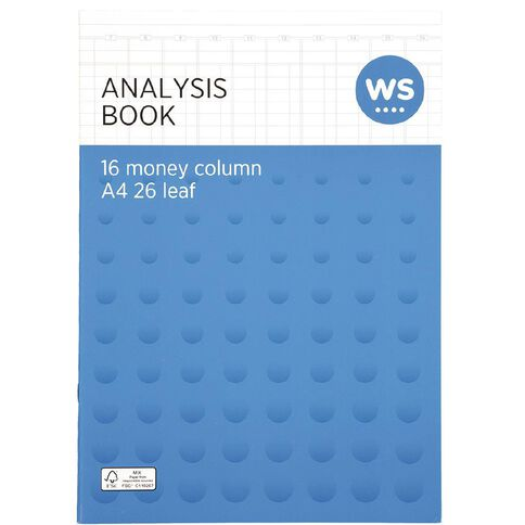 WS Analysis Book Limp 16 Column Blue A4