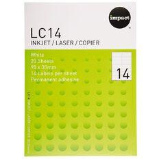 Impact Labels 20 Sheets A4/14 White