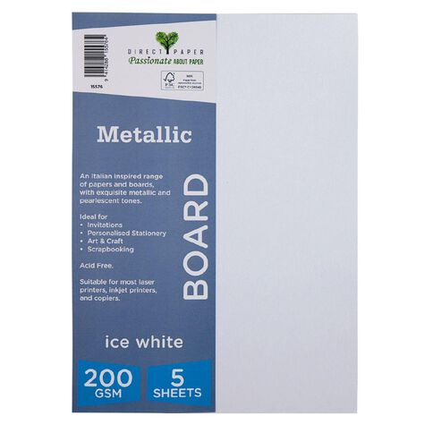 Direct Paper Metallic 200gsm 5 Pack Ice White A4