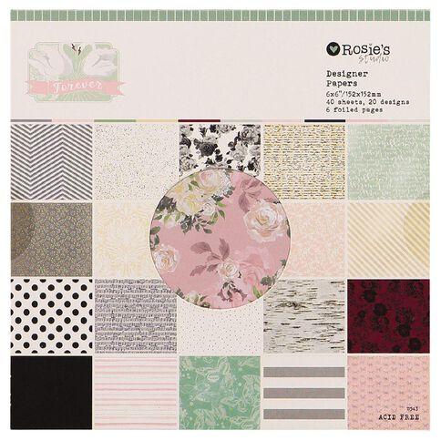 Rosie's Studio Forever Paper Pad 6in x 6in 40 Sheet