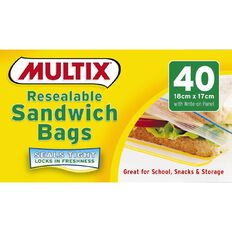 Multix Quick Zip Resealable Sandwich Bags 40 Pack